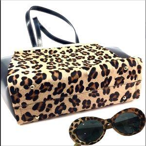 Alberta Di Canio Bags - Leopard Print Alberta Di Canio Leather Wing Tote